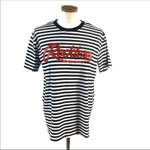 Young & Reckless Big R Script Striped T-Shirt Med